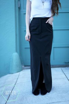 DIY Clothes DIY Refashion  DIY Easy trousers to fitted maxi skirt with slit refashion