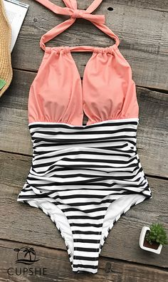 Beach travel always the best! Plunging v-neck and halter design, pink top and stripe bottom, perfectly show your curve and make you stand out in the crowd. Free shipping! Check it, today!