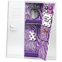 Totally Me! Wallpaper with Magnets - Purple Zebra Print Middle School Hacks, High School Hacks, Too Cool For School, School Tips, School Stuff, School Locker Organization, School Lockers, Organization Hacks, Locker Designs
