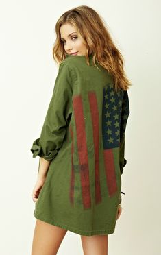 Blu Moon Vintage American Flag Army Jacket