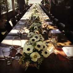Literally a sea of Anemones… Another successful event with for the Hollywood Reporter and Jimmy Choo stylist lunch at soho house (at Soho House) Shabbat Dinner, Christmas Wreaths, Christmas Tree, House Viewing, Soho House, The Hollywood Reporter, Table Flowers, T 4, White Flowers