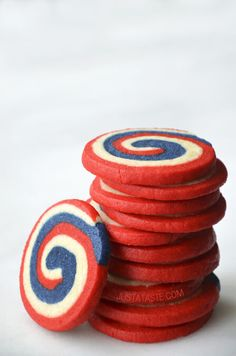 Red, White and Blue Pinwheel Icebox Cookies #recipe from justataste.com