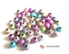 100 perles stardust métallisées couleur mixte acrylique 6 mm : Perles Synthétiques par une-histoire-de-mode