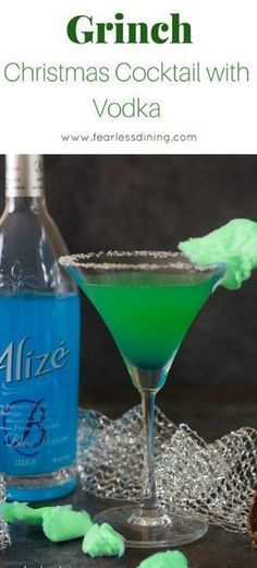 Get ready for the holidays with this fun and fruity Grinch Cocktail. This Grinch punch is perfect for holiday parties. Made with Alize Premium Vodka they add a lot of fun color to your party! #AD #vodka #grinch #cocktails #alizeincolor