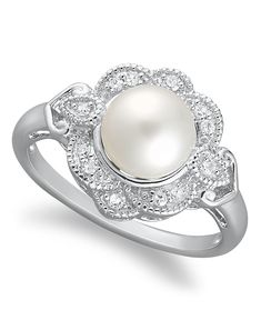 Sterling Silver Ring, Cultured Freshwater Pearl (7 mm) and Diamond (1/10 ct. t.w.) Ring - Pearls - Jewelry & Watches - Macy's
