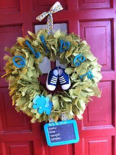 New Baby Boy Wreath | Wreaths-Baby