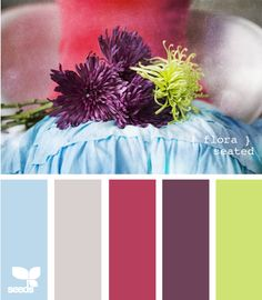 wedding color combination: blues, pinks, purple and green