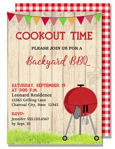 BBQ Cookout - Free Printable BBQ Party Invitation Template ...