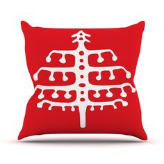"Miranda Mol ""Deco Tree Red"" Holiday Outdoor Throw Pillow"