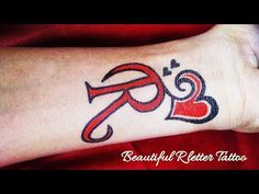 Beautiful R Letter Tattoo with love Heart Pet Tattoos, Friend Tattoos, Love Tattoos, Body Art Tattoos, R Letter Tattoo, Name Tattoo On Hand, Tattoo Lettering Styles, Name Tattoo Designs, Lettering Design