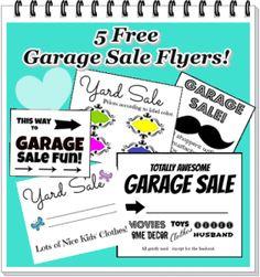 Free printable garage sale signs/flyers.