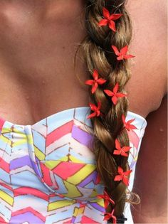 side braid with little flowers