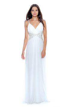 $238 at www.bedazzledboutique.com | This simple gown is available in ivory or teal and is the perfect prom gown. | Bedazzled Boutique