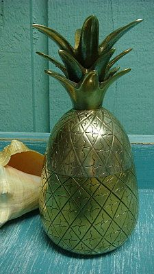 Your place to buy and sell all things handmade Tropical Kitchen, Tropical Home Decor, Vintage Interiors, Tropical Paradise, Interior Design Kitchen, Trinket Boxes, Pineapple, Brass, Retro
