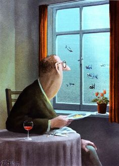 art, illustration, figure, man, side, holding, window, animal, fish, water, ocean, interior, humor, //  Gerhard Glück