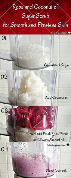 DIY Rose Sugar Scrub For Smooth and Flawless Skin Our biggest enemies like acne, pollution, sun rays etc. restrict our skin to be perfect. Beat our enemies with this DIY exfoliating Rose Sugar Scrub. Diy Skin Care, Skin Care Tips, Skin Tips, Organic Skin Care, Natural Skin Care, Natural Beauty, Natural Face, Natural Makeup, Organic Beauty