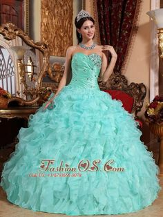 Modest Apple Green Quinceanera Dress Sweetheart Organza Beading and Ruffles Ball Gown  http://www.fashionos.com   lace up quinceanera dress   apple green quinceanera dress  