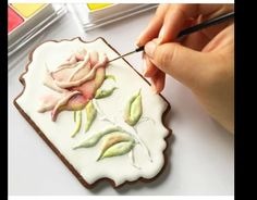 How to Paint realistic Royal Icing Piping Rose Petals, Stems & Leaves for Cakes