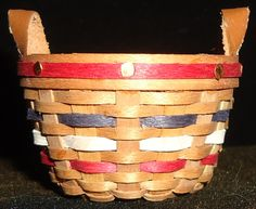 Micro Mini All American Knitting Basket in Patriotic Colors!  $25.00 Knit Basket, Baskets, Miniatures, Knitting, American, Heart, Colors, Tricot, Cast On Knitting