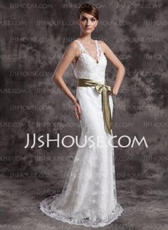 A-Line/Princess V-neck Court Train Satin Lace Wedding Dresses With Lace Sashes (002015007)