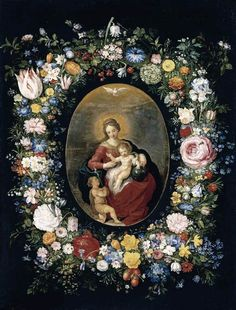 Jan Brueghel the Younger (1601-1678) –– Virgin and Child with Infant St.John in a Garland of Flowers,1630s  (700×922)