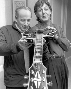 Les Paul was a German-American jazz, country and blues guitarist, songwriter. Inventor of the Electric Guitar which made the sound of Rock N Roll possible. Born Lester William Polsfuss in Waukesha, WI, His mother was related to the founders of Milwaukee's Valentin Blatz Brewing Company and the makers of the Stutz Bearcat automobile. The Prussian family name was first simplified by his mother to Polfuss before he took his stage name of Les Paul.