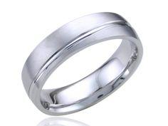 Asymmetrical Line Mens Wedding Ring