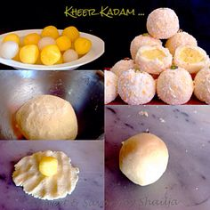 Kheer kadam is a bengali sweet and is made with mini saffron flavored rasgullas which are then coated with grated Mawa/ khoya and then rolled in milk powder and dried coconut mix . Indian Dessert Recipes, Indian Sweets, Sweets Recipes, Desert Recipes, Raw Food Recipes, Indian Recipes, Indian Snacks, Rice Recipes, Sweet Desserts