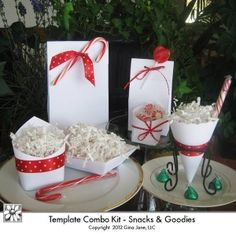 Printable Christmas Gift Bags and Treat Cones featuring white PNG plain templates. You can stamp, add embellishments or leave these white. Very cute and easy to make yourself. DIY Christmas and Holiday treat containers. DAISIE COMPANY: Printable Digital Paper Crafts, Clipart, Scrapbooking, Stamp, Party - DaisieCompany.com