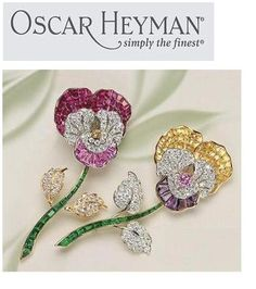 Lovely pair of Pansy brooches - Oscar Heyman (no date given with the Pin.)