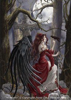 Nene Thomas Andrews + Blaine Ltd Memento - Pc Puzzle Dark Angel Fantasy Dark Angels, Angels And Demons, Gothic Angel, Gothic Art, Fantasy World, Fantasy Art, Illustration Fantasy, Irish Mythology, Fairy Art