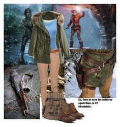 """""""Lara Croft"""" by katerinashev ❤ liked on Polyvore featuring WithChic, Uniqlo, Twin-Set, Dorothy Perkins, Wilsons Leather, Dr. Martens, LARA, cosplay, tombraider and videogame"""
