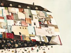 rob sato's latest surreal paintings capture architectural explosions in the sky.