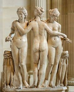 The three Graces. Marble, Roman copy of the Imperial Era (2nd century AD?) after a Hellenistic original. Louvre.