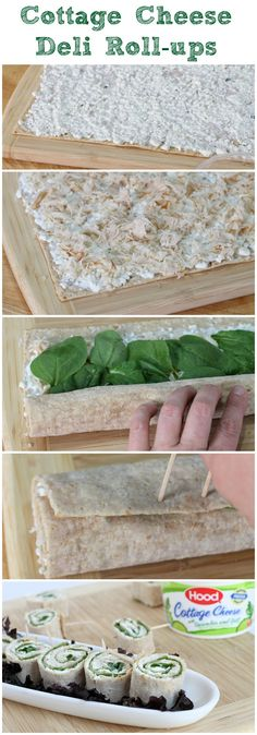 Savory  cottage cheese deli roll ups. Great healthy snack, that is versatile & easy to make. #NewHoodCC