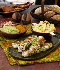 Grilled chicken spits in South African style - Eteläafrikkalaiset braai-broilerivartaat, resepti – Ruoka.fi