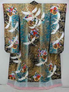 Black, Dyed Duck Feather Color, Hizuru Hanaguruma Pattern Uchikake / 黒と鴨の羽色染分けに飛鶴花車文様 打ち掛け