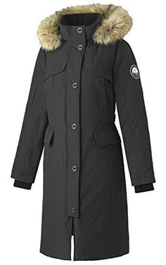 Alpinetek Womens Long Down Parka Coat Large Black >>> Learn more by visiting the image link. (This is an affiliate link)
