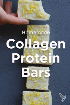 This nut-free homemade protein bars recipe is packed with skin-smoothing, gut-healing benefits of pastured collagen protein. Try with orange juice and rind! Protein Snacks, Low Carb Protein Bars, Protein Bar Recipes, Keto Snacks, High Protein, Homemade Protein Bars, Keto Recipes, Protein Cake, Protein Muffins