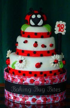 Ladybug Fondant Cake By bakingbugbites