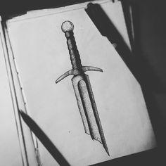 """""""Broken Sword"""" Dark traditional tattoo. #darktraditional #dotwork #sketch…"""