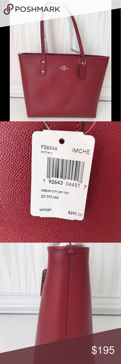 016b821cecc NWT COACH CITY ZIP TOTE F58846 CHERRY- LIGHT-GOLD NWT COACH CITY ZIP TOTE  F58846 CHERRY- LIGHT-GOLD Product details Crossgrain leather and coated  canvas ...