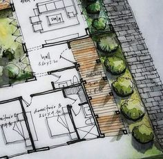Sketch detail of handmade plant … - Architecture Ideas Texture Architecture, Landscape Architecture Drawing, Architecture Sketchbook, Landscape Plans, Landscape Drawings, Architecture Plan, Landscape Design, Nice Landscape, Classical Architecture