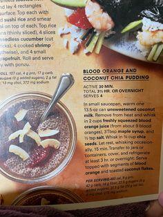 Blood orange and coconut Chia pudding—prevention magazine Coconut Chia Pudding, Grain Salad, Healthy Grains, Blood Orange, Side Dishes, Sweets, Magazine, Fruit, Desserts