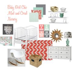 Baby Girl Chic Mint & Coral Nursery- love the colors with the white furniture.  Would be easy to incorporate with a toddler & baby shared room too