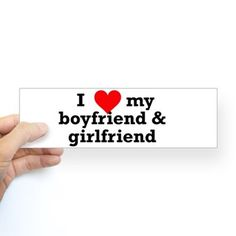 I Love My Boyfriend & Girlfriend Polyamory Bumper Sticker  I need this!