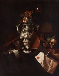 Pieter Gerritsz van Roestraten (Dutch, lived circa 1630–1700) Title: A vanitas still life with regalia, musical instruments, a reflecting imperial orb, a skull and bones and a charter group