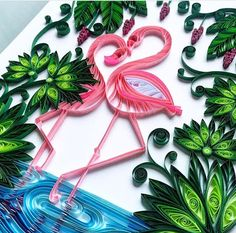 Quilled flamingos