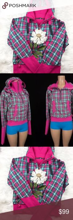 """💕SALE💕 Lululemon Senorita Pink Run Reflections Fabulous 💕 Lululemon Senorita Pink Run Reflections Plaid Pullover with hole in hood for Ponytail Thumb hole, Swift Wicking, quick drying, breathable with 2-way Stretch Durable Water Resistant Finish 21"""" from the top of the shoulder to bottom 23"""" from armpit to armpit lululemon athletica Jackets & Coats"""