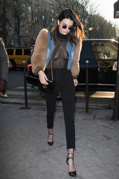 Kendall Jenner dans les rues de Paris en janvier 2017